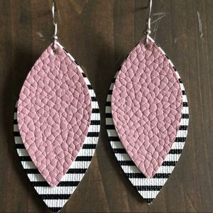 Brand new!!!  Faux leather pink and stripe earring